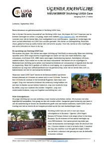 Nieuwsbrief Stichting LUGA Care 2014-1